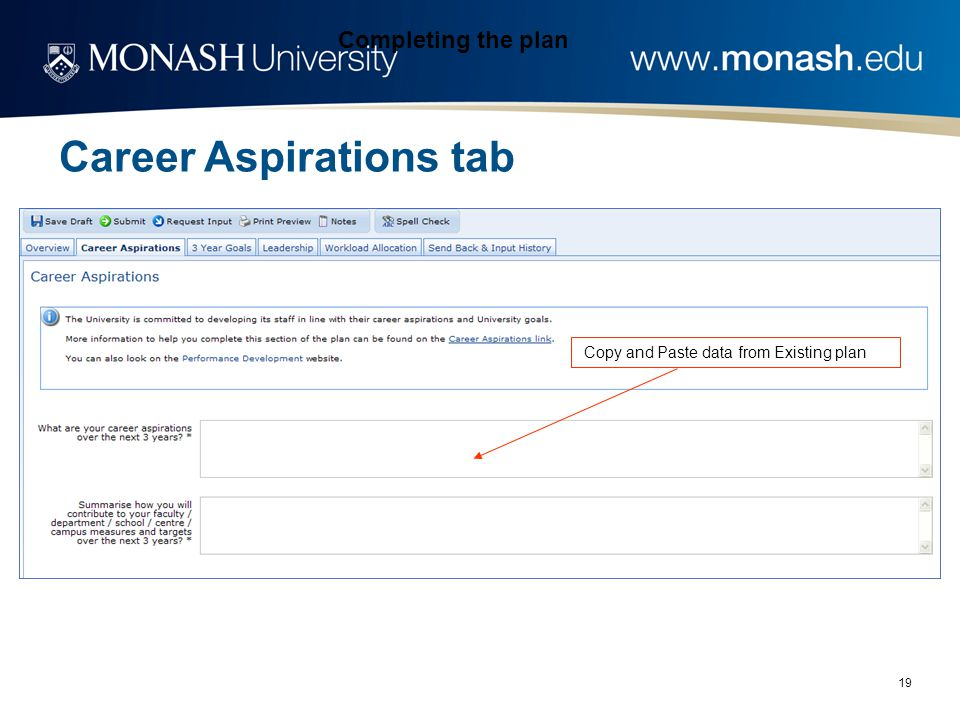 19 Completing the plan Copy and Paste data from Existing plan Career Aspirations tab