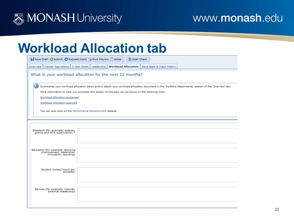 22 Workload Allocation tab