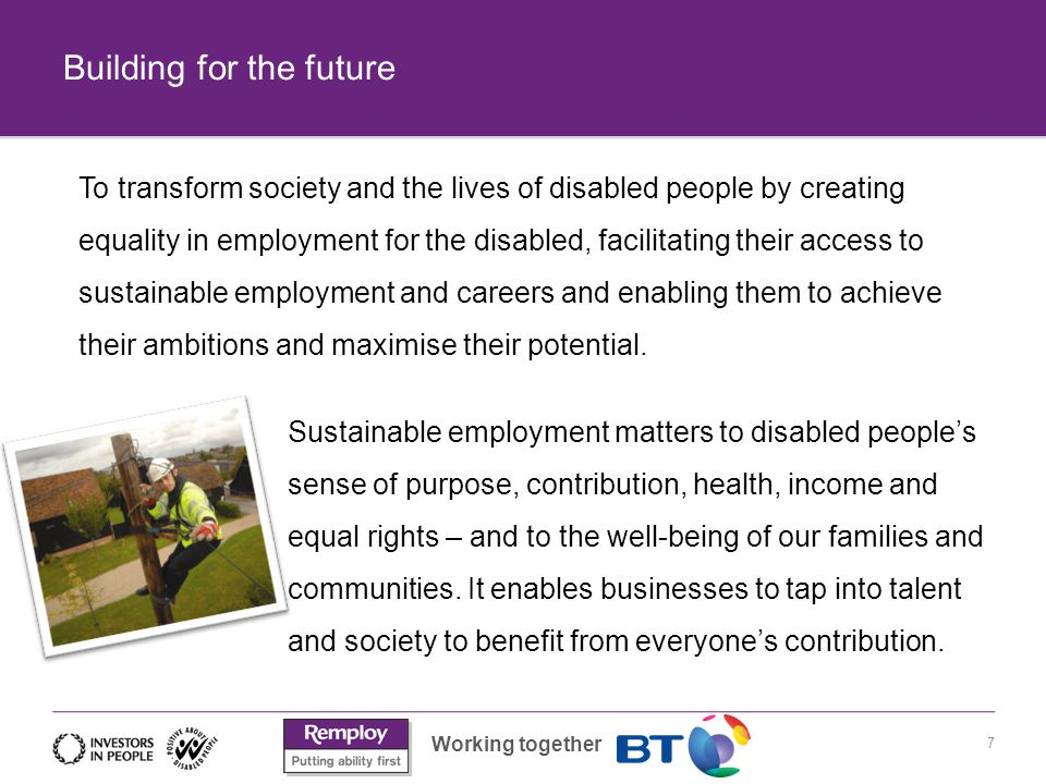 Working together Building for the future 7 To transform society and the lives of disabled people by creating equality in employment for the disabled, facilitating their access to sustainable employment and careers and enabling them to achieve their ambitions and maximise their potential.
