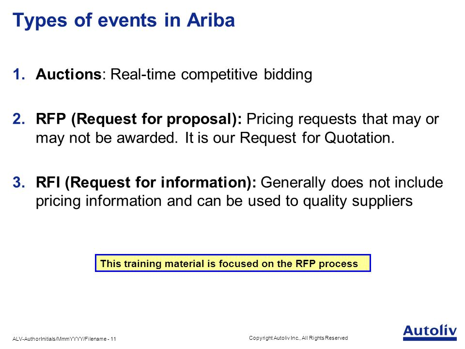 ALV-AuthorInitials/MmmYYYY/Filename - 11 Copyright Autoliv Inc., All Rights Reserved Types of events in Ariba 1.Auctions: Real-time competitive bidding 2.RFP (Request for proposal): Pricing requests that may or may not be awarded.