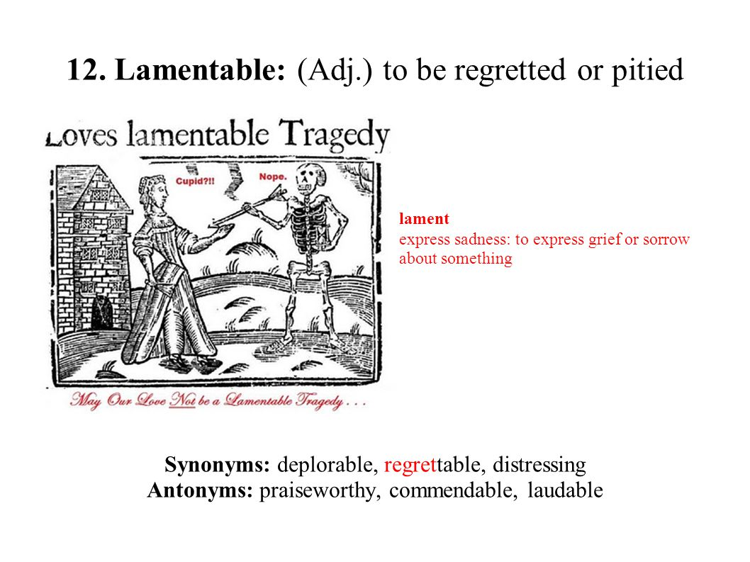 12. Lamentable: (Adj.) to be regretted or pitied Synonyms: deplorable, regrettable, distressing Antonyms: praiseworthy, commendable, laudable lament e