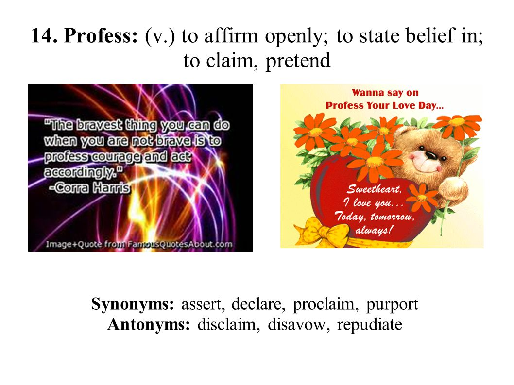 14. Profess: (v.) to affirm openly; to state belief in; to claim, pretend Synonyms: assert, declare, proclaim, purport Antonyms: disclaim, disavow, re