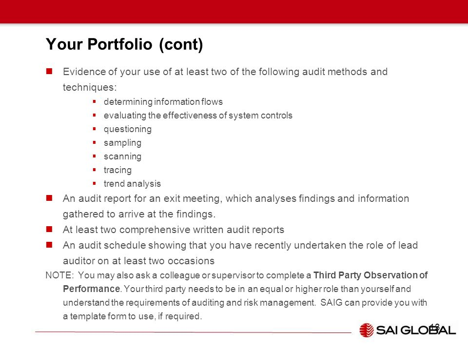 Your Portfolio (cont) Evidence of your use of at least two of the following audit methods and techniques:  determining information flows  evaluating