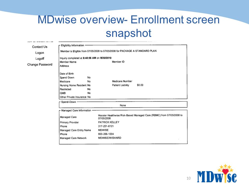 10 MDwise overview- Enrollment screen snapshot