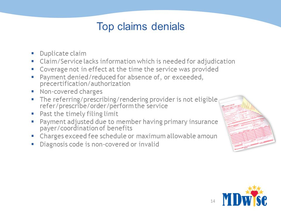 14 Top claims denials  Duplicate claim  Claim/Service lacks information which is needed for adjudication  Coverage not in effect at the time the service was provided  Payment denied/reduced for absence of, or exceeded, precertification/authorization  Non-covered charges  The referring/prescribing/rendering provider is not eligible to refer/prescribe/order/perform the service  Past the timely filing limit  Payment adjusted due to member having primary insurance payer/coordination of benefits  Charges exceed fee schedule or maximum allowable amount  Diagnosis code is non-covered or invalid