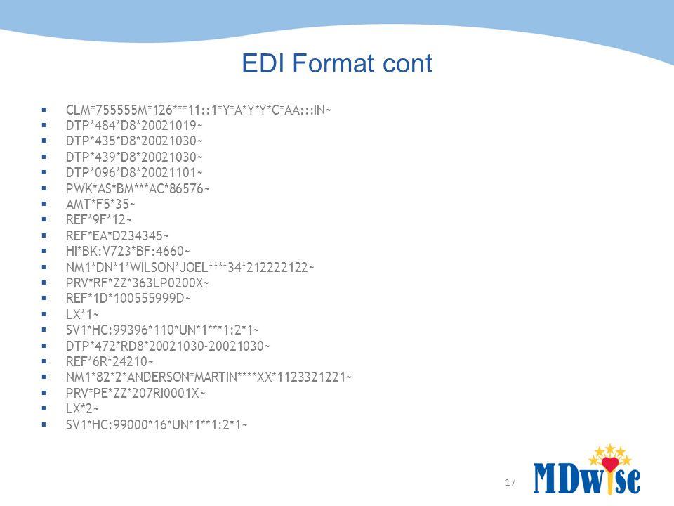 17 EDI Format cont  CLM*755555M*126***11::1*Y*A*Y*Y*C*AA:::IN~  DTP*484*D8*20021019~  DTP*435*D8*20021030~  DTP*439*D8*20021030~  DTP*096*D8*2002