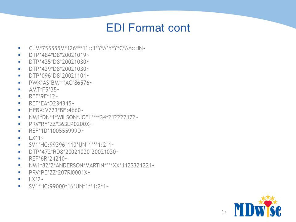 17 EDI Format cont  CLM*755555M*126***11::1*Y*A*Y*Y*C*AA:::IN~  DTP*484*D8*20021019~  DTP*435*D8*20021030~  DTP*439*D8*20021030~  DTP*096*D8*20021101~  PWK*AS*BM***AC*86576~  AMT*F5*35~  REF*9F*12~  REF*EA*D234345~  HI*BK:V723*BF:4660~  NM1*DN*1*WILSON*JOEL****34*212222122~  PRV*RF*ZZ*363LP0200X~  REF*1D*100555999D~  LX*1~  SV1*HC:99396*110*UN*1***1:2*1~  DTP*472*RD8*20021030-20021030~  REF*6R*24210~  NM1*82*2*ANDERSON*MARTIN****XX*1123321221~  PRV*PE*ZZ*207RI0001X~  LX*2~  SV1*HC:99000*16*UN*1**1:2*1~