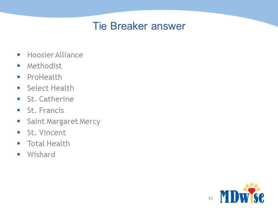 43 Tie Breaker answer  Hoosier Alliance  Methodist  ProHealth  Select Health  St. Catherine  St. Francis  Saint Margaret Mercy  St. Vincent 