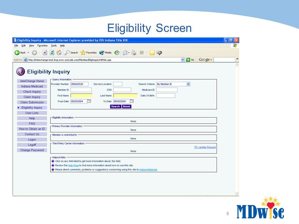 8 Eligibility Screen