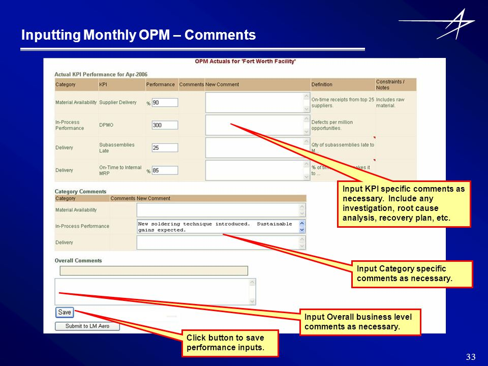 33 Inputting Monthly OPM – Comments Input KPI specific comments as necessary.