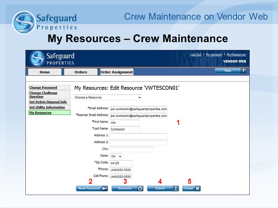 My Resources – Crew Maintenance Crew Maintenance on Vendor Web 1 2345