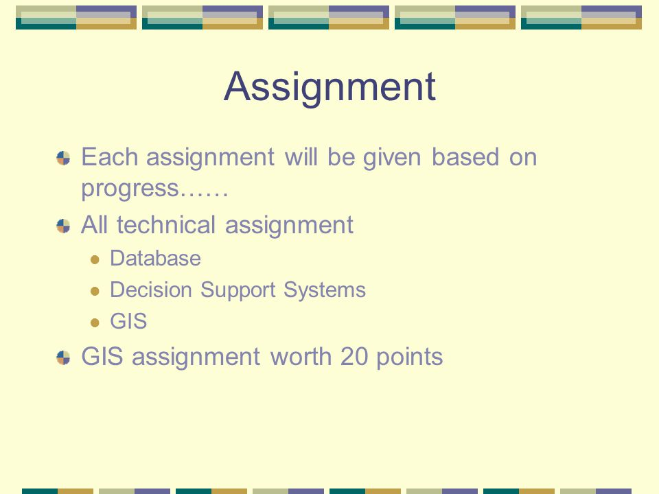 Assignment Each assignment will be given based on progress…… All technical assignment Database Decision Support Systems GIS GIS assignment worth 20 points
