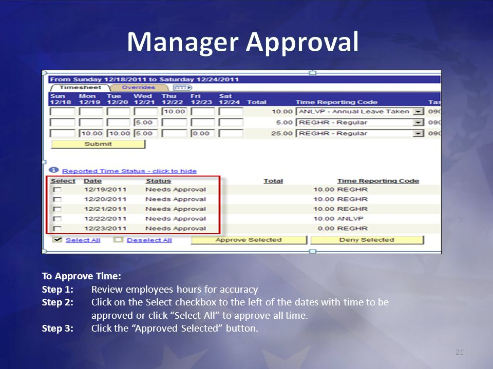 21 To Approve Time: Step 1: Review employees hours for accuracy Step 2: Click on the Select checkbox to the left of the dates with time to be approved or click Select All to approve all time.