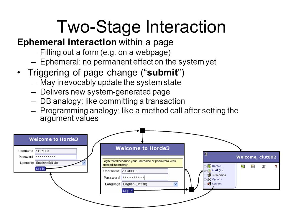 Two-Stage Interaction Ephemeral interaction within a page –Filling out a form (e.g.