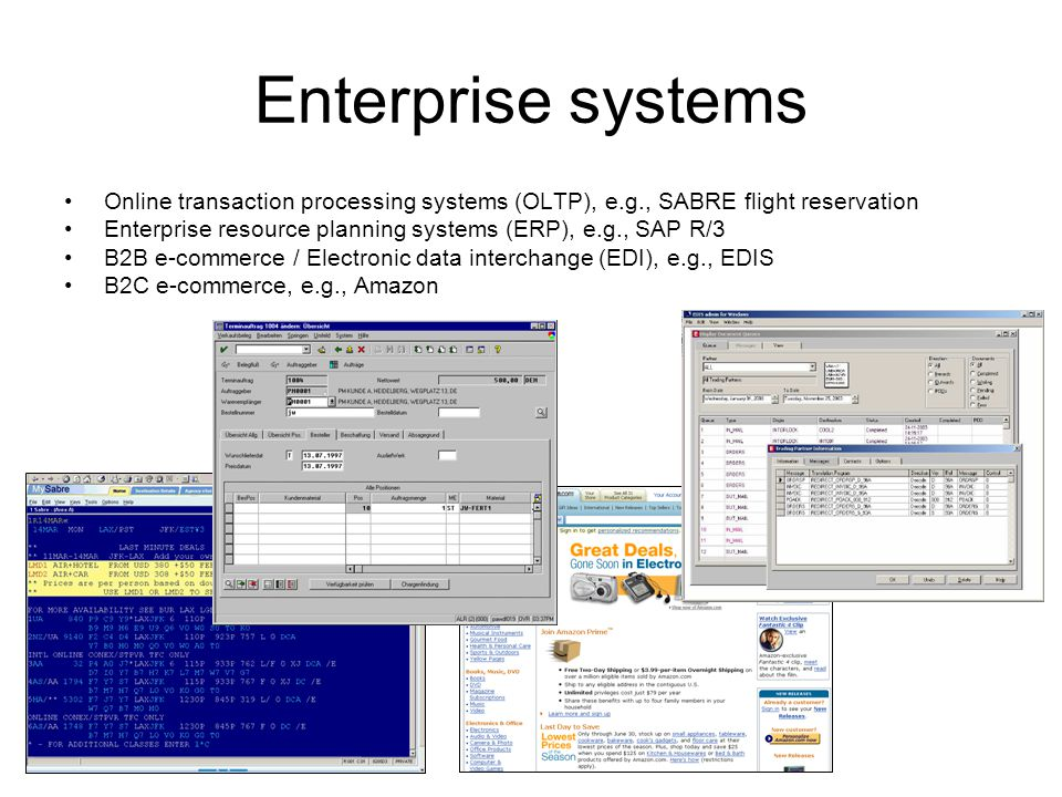 Enterprise systems Online transaction processing systems (OLTP), e.g., SABRE flight reservation Enterprise resource planning systems (ERP), e.g., SAP R/3 B2B e-commerce / Electronic data interchange (EDI), e.g., EDIS B2C e-commerce, e.g., Amazon