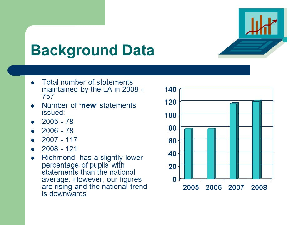 Background Data Total number of statements maintained by the LA in 2008 - 757 Number of 'new' statements issued: 2005 - 78 2006 - 78 2007 - 117 2008 - 121 Richmond has a slightly lower percentage of pupils with statements than the national average.