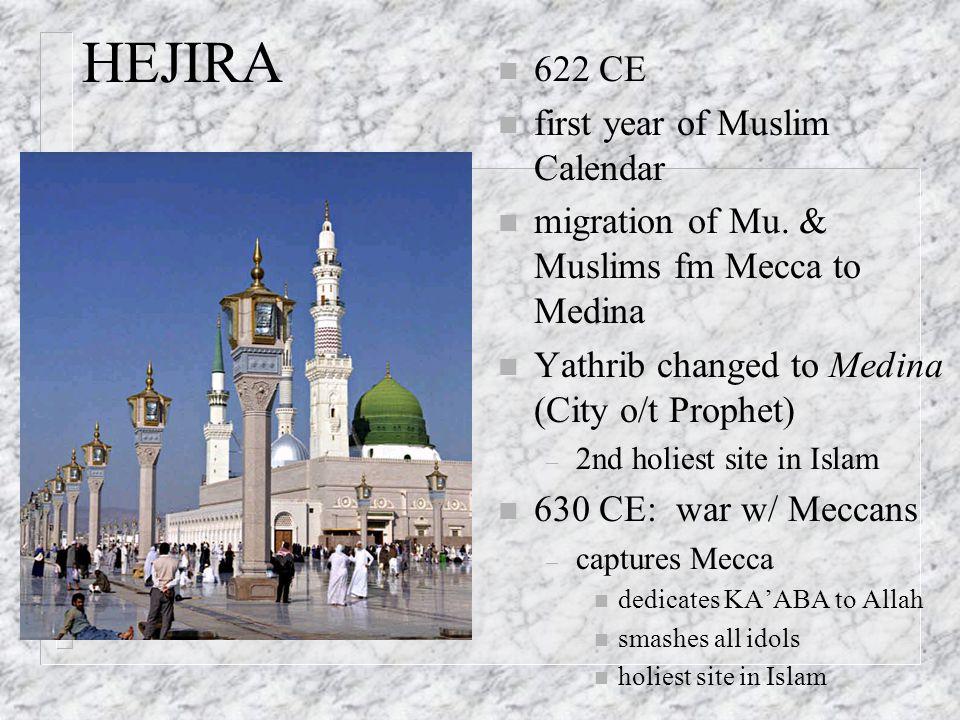 HEJIRA n 622 CE n first year of Muslim Calendar n migration of Mu. & Muslims fm Mecca to Medina n Yathrib changed to Medina (City o/t Prophet) – 2nd h