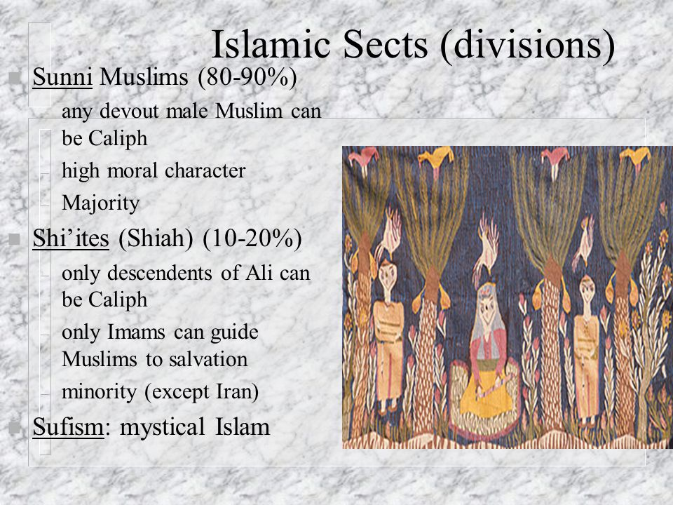 Islamic Sects (divisions) n Sunni Muslims (80-90%) – any devout male Muslim can be Caliph – high moral character – Majority n Shi'ites (Shiah) (10-20%) – only descendents of Ali can be Caliph – only Imams can guide Muslims to salvation – minority (except Iran) n Sufism: mystical Islam