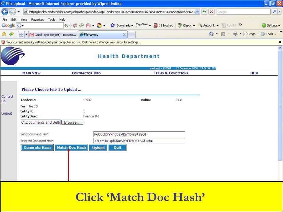 Click 'Match Doc Hash'