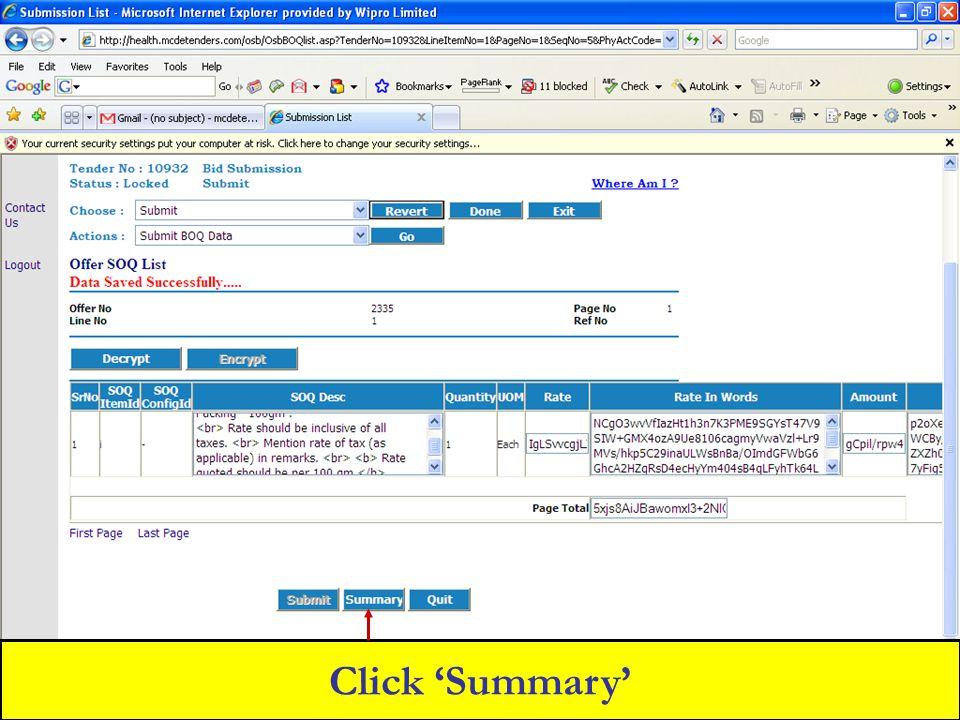 Click 'Summary'