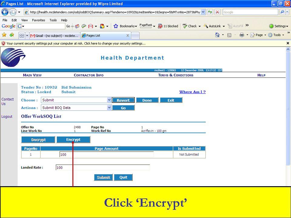 Click 'Encrypt'
