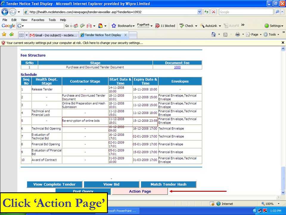 Click 'Action Page'