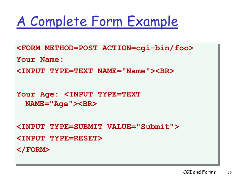 A Complete Form Example Your Name: Your Age: Your Name: Your Age: CGI and Forms 15