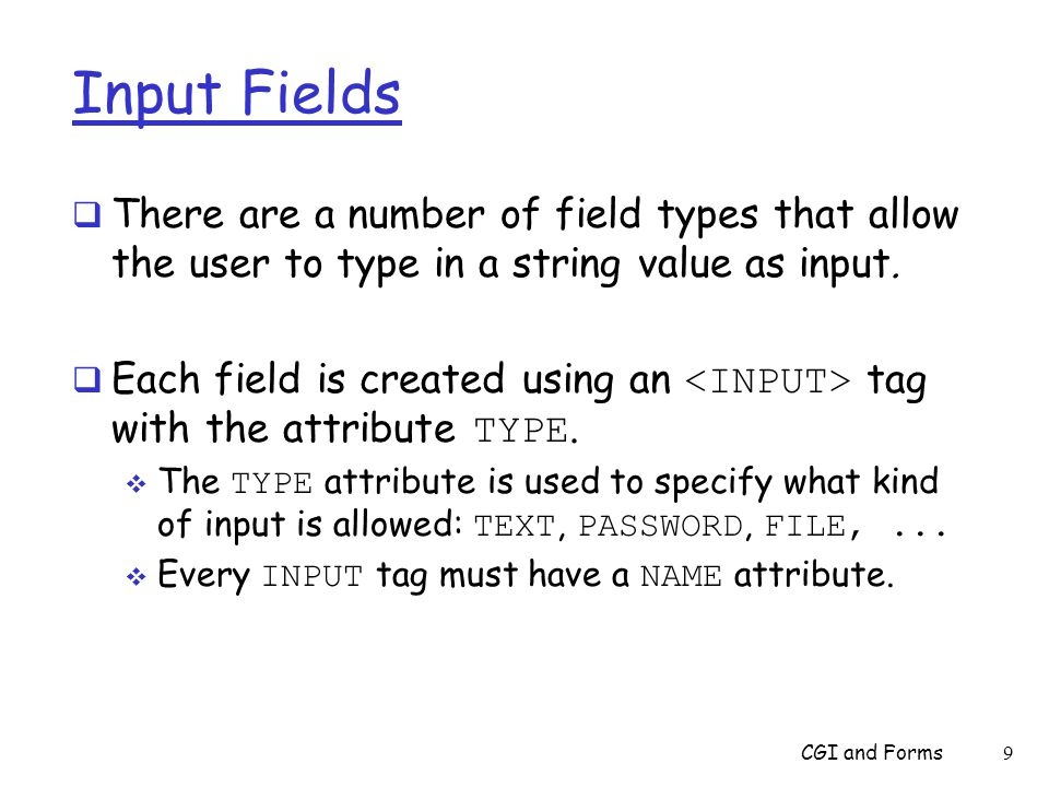 TEXT Fields  TEXT is the most common type of input:  user can enter a single line of text.