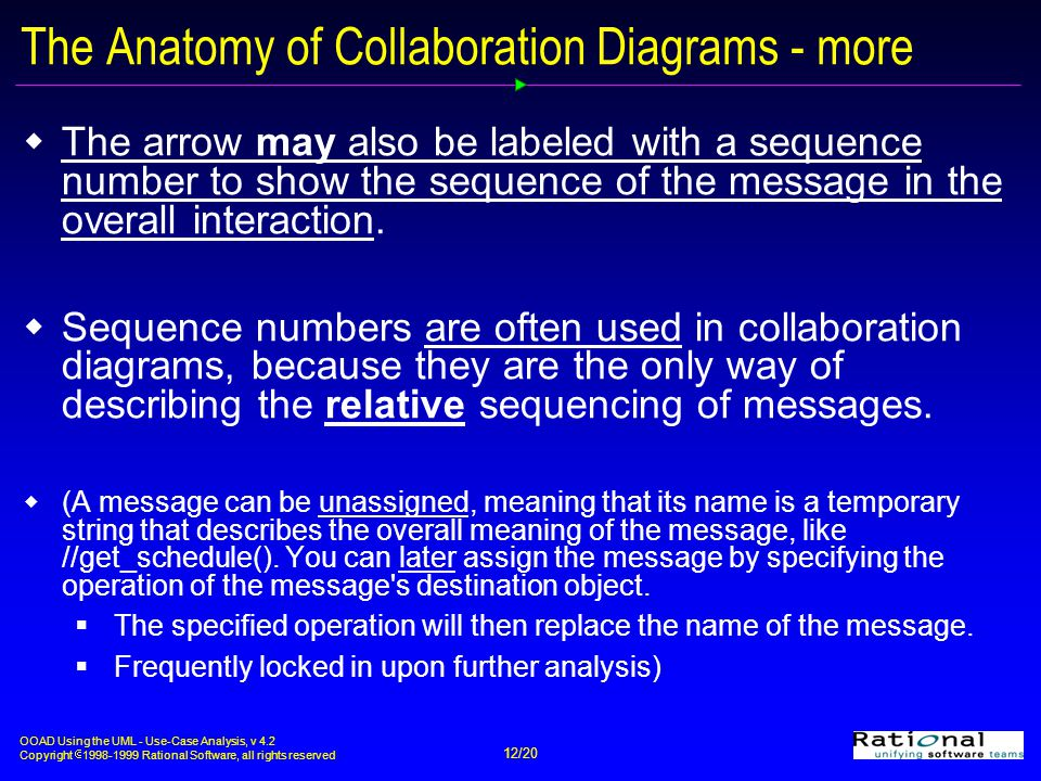 OOAD Using the UML - Use-Case Analysis, v 4.2 Copyright  1998-1999 Rational Software, all rights reserved 12/20 The Anatomy of Collaboration Diagrams - more  The arrow may also be labeled with a sequence number to show the sequence of the message in the overall interaction.