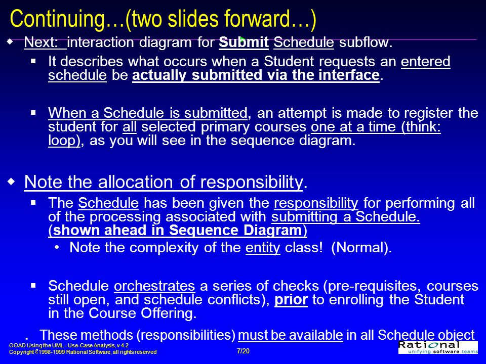 OOAD Using the UML - Use-Case Analysis, v 4.2 Copyright  1998-1999 Rational Software, all rights reserved 7/20 Continuing…(two slides forward…)  Next: interaction diagram for Submit Schedule subflow.