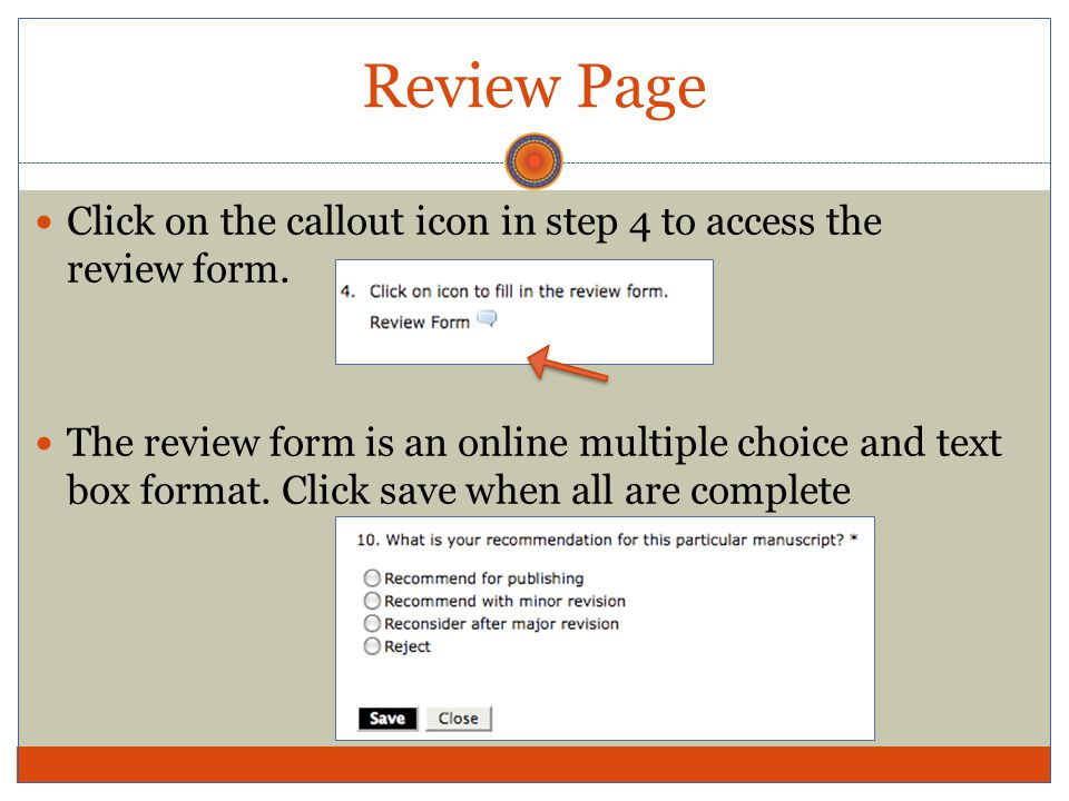 Review Page Click on the callout icon in step 4 to access the review form.