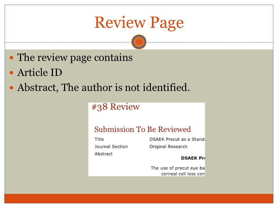 Review Page The review page contains Article ID Abstract, The author is not identified.