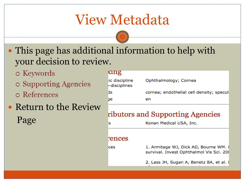 View Metadata This page has additional information to help with your decision to review.