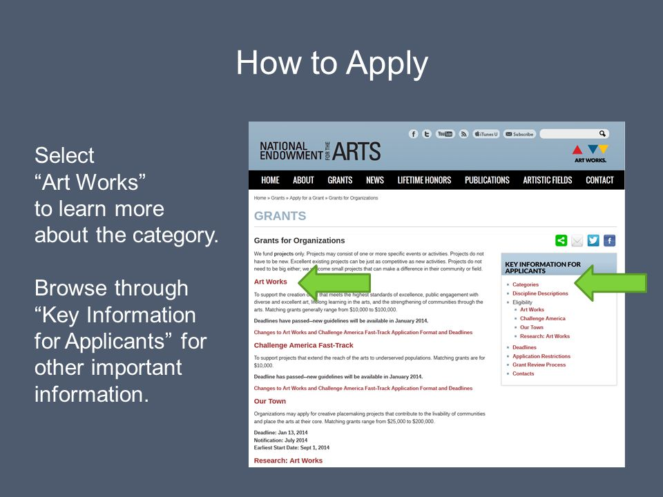 How to Apply Select Art Works to learn more about the category.