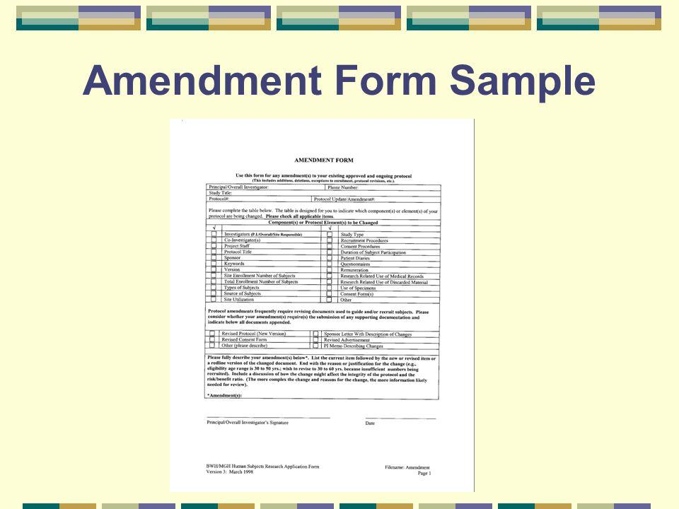 Amendment Form Sample