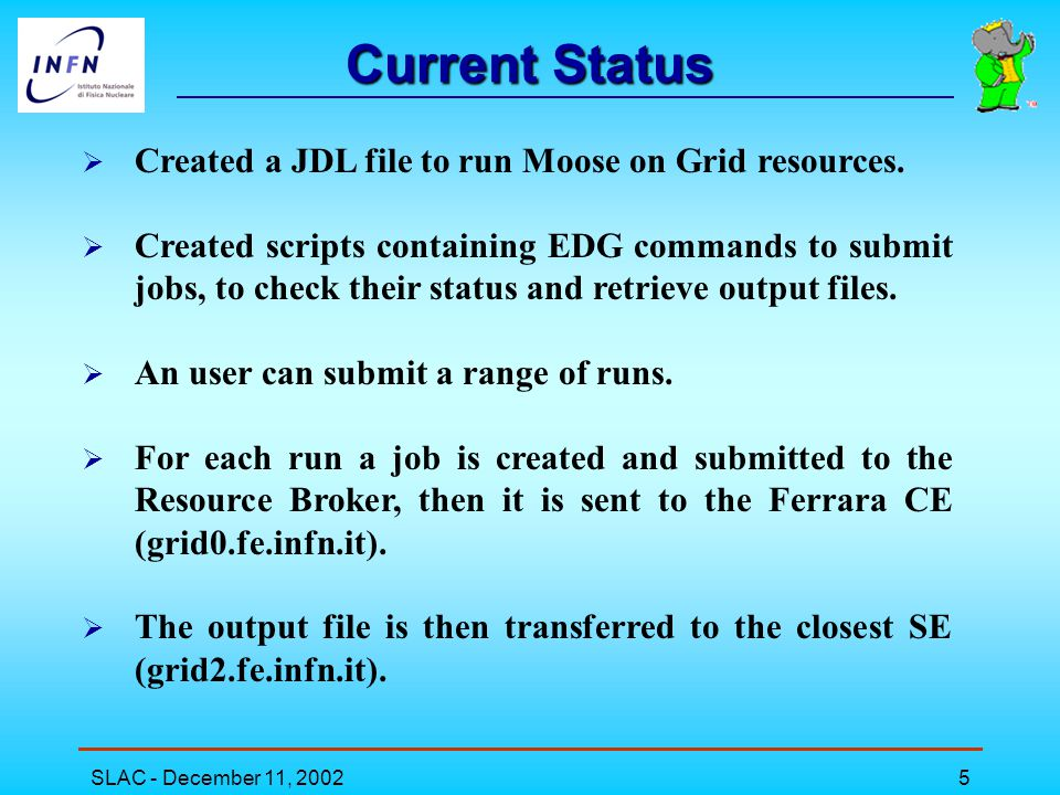SLAC - December 11, 20025 Current Status  Created a JDL file to run Moose on Grid resources.