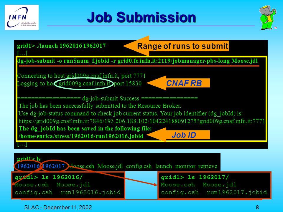 SLAC - December 11, 20029 grid1>./monitor 1962016 1962017 Run 1962016 is Status = Scheduled Status Reason = initial Run 1962017 is Status = Scheduled Status Reason = initial grid1>./monitor 1962016 1962017 Run 1962016 is Status = Running Status Run 1962017 is Status = Running Status The monitor script grid1>./monitor 1962016 1962017 Run 1962016 is Status = Ready Status Reason = job accepted Run 1962017 is Status = Ready Status Reason = job accepted grid1> more monitor #!/bin/tcsh @ num_f = $1 @ fin = $2 while ( $num_f <= $fin ) echo Run $num_f is `dg-job-status -i \ $num_f/run$num_f.jobid | grep Status` @ num_f++ end EDG command grid1>./monitor 1962016 1962017 Run 1962016 is Status = OutputReady Status Reason = terminated Run 1962017 is Status = OutputReady Status Reason = terminated