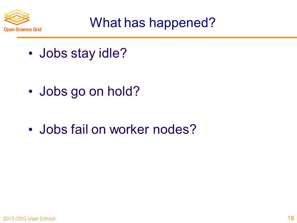 2013 OSG User School What has happened. Jobs stay idle.