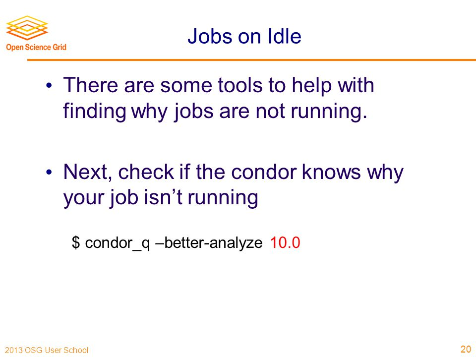 2013 OSG User School Jobs on Idle There are some tools to help with finding why jobs are not running.