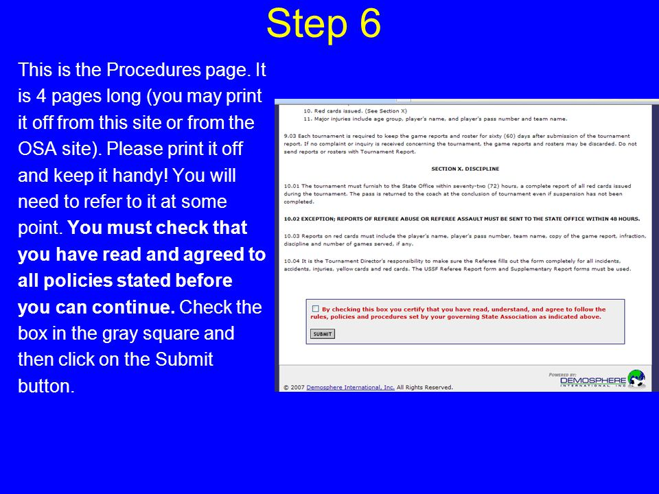 Step 7 The next page to appear is a check list of procedures that must be completed before the application may be approved.