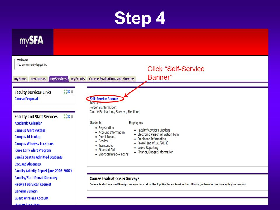 "Step 4 Click ""Self-Service Banner"""