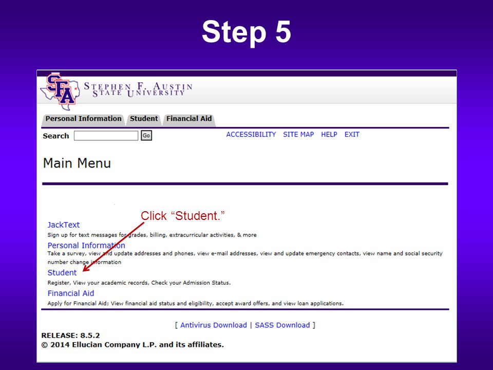 Step 5 Click Student.