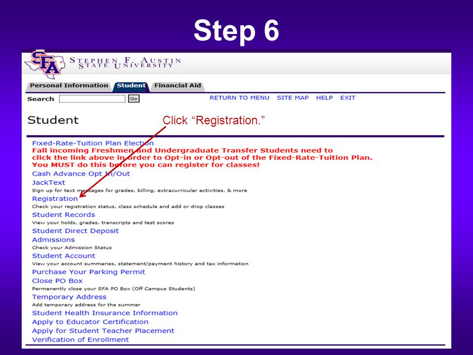Step 6 Click Registration.