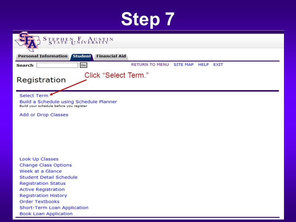 "Step 7 Click ""Select Term."""