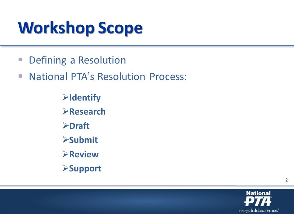 Workshop Scope  Defining a Resolution  National PTA's Resolution Process:  Identify  Research  Draft  Submit  Review  Support 2
