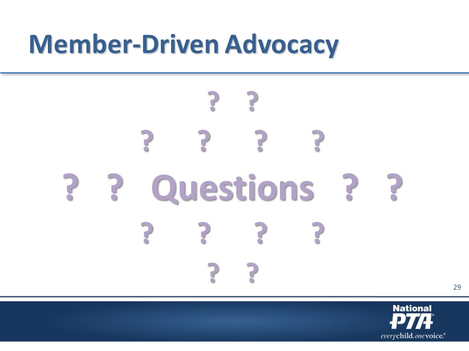 Member-Driven Advocacy ? ? ? ? ? ? ? ? Questions ? ? ? ? ? ? ? ? 29