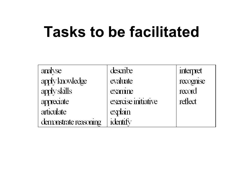 Tasks to be facilitated