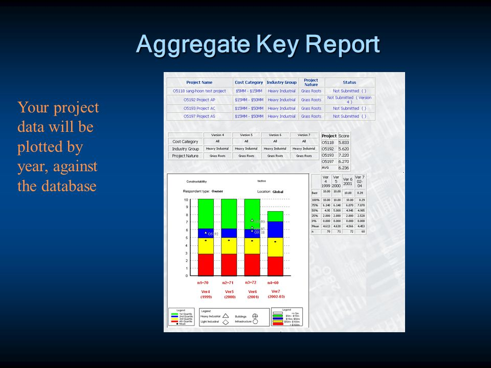 Aggregate Key Report Your project data will be plotted by year, against the database
