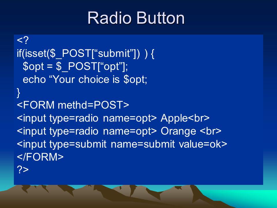 Radio Button <.