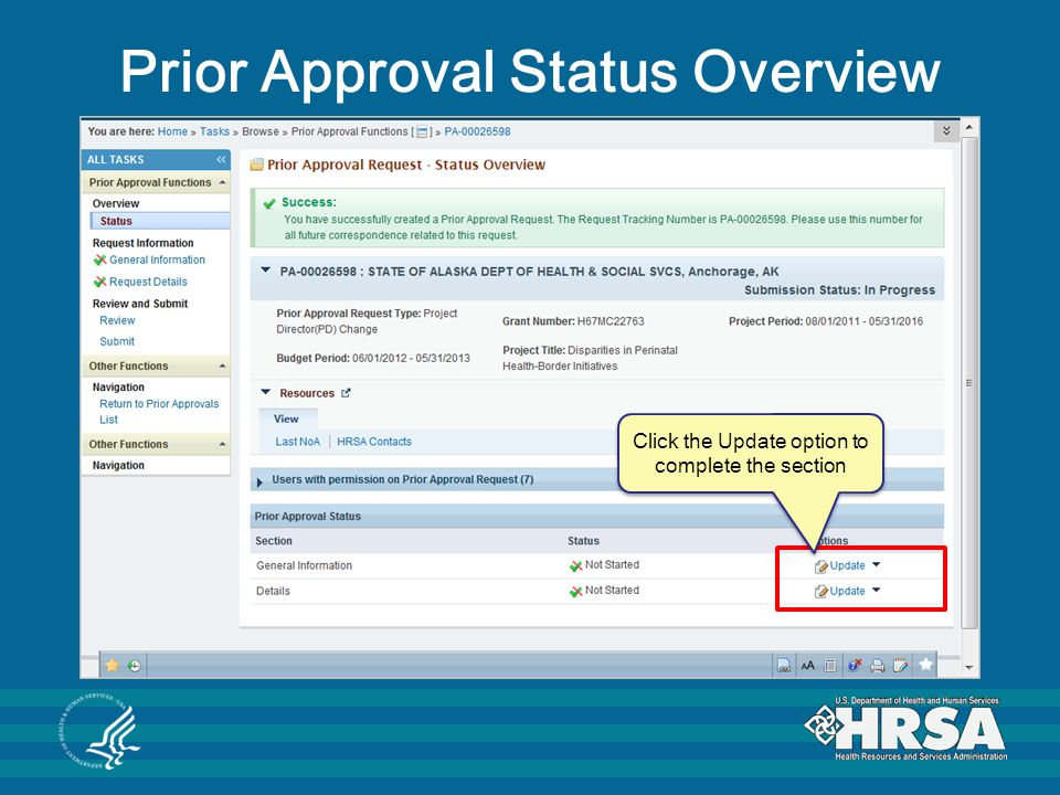 Prior Approval Status Overview Click the Update option to complete the section